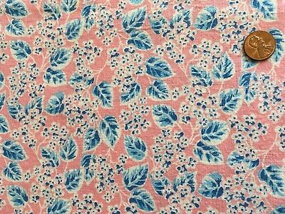 Pretty pink background vintage feed sack with blue and white floral design