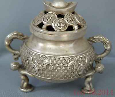 Collectable Handwork Decor Old Miao Silver Carve Dragon Ingot Lid Incense Burner