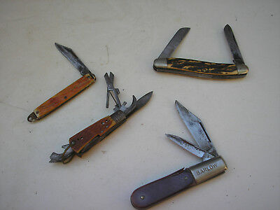 Vintage Folding Pocket Knives -  4 pc - Schrade, Barlow, Uncle Henry