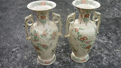 Antique Chinese  Pair Vases Stunning Hand Painted  Birds & Butterflys  Signed Lg