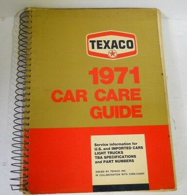 Vtg TEXACO 1971 Car Care Guide US & Imported Car Truck Motorcycle Spec & Parts