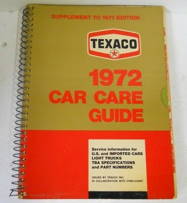 Vtg TEXACO 1972 Car Care Guide US & Imported Car Truck Motorcycle Spec & Parts