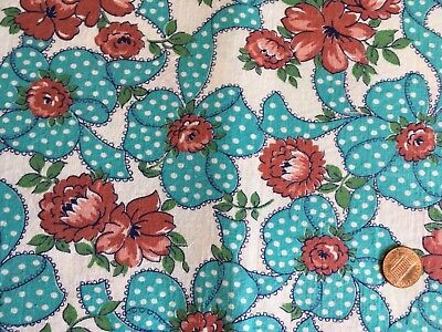 Vintage cotton feed sack polka dot turquoise bows and rust flowers