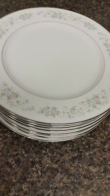 """Carlton China Made in Japan Corsage Pattern Set of 8-10 5/8"""" Dia.  Dinner Plates"""