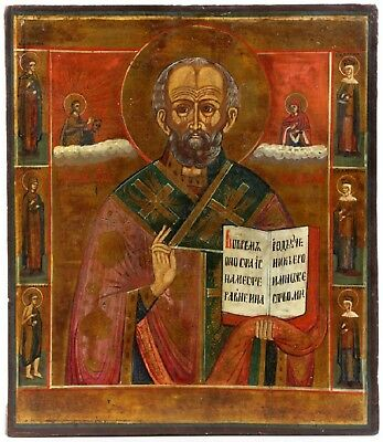 Antique Old Russian icon of st.Nicholas with Saints