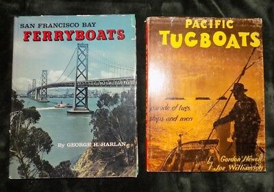 SAN FRANCISCO FERRY BOATS and PACIFIC TUGBOATS - Set of 2 Vtg Hardcover Books !