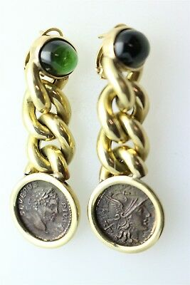 18K Dangle Earrings With Ancient Coins, 27.2 Grams