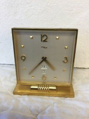 Magnficent Antique Vintage IMHOF Swiss Art Deco Brass Desk Clock with Day & Date