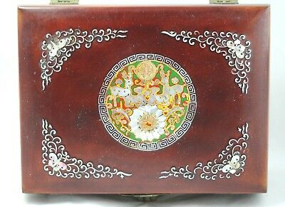 Vintage Asian mother of pearl inlay wooden jewelry box