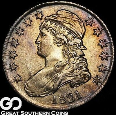1831 Capped Bust Half Dollar, Nice Luster W/ Attractive Toning, Choice AU++/Unc!