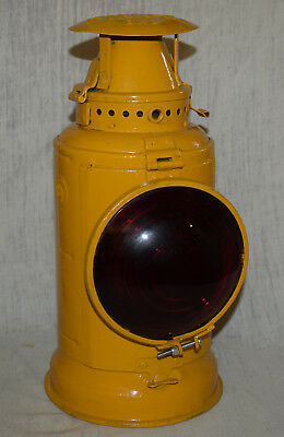 Vintage PRR Pennsylvania Railroad Lamp / Lantern - Yellow w/ Red Globe - Adlake