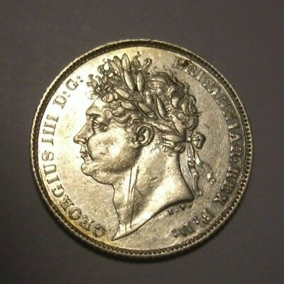 Antique 1825 Great Britain 6 Pence Silver Coin Uk England