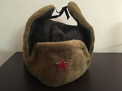 KB) Soviet Union Warsaw Pact Winter Ear Flap Army Military Wool Green Hat Cap