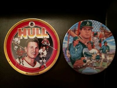 """new used Bobby Hull,  4 1/4"""" dia. Mini Collectors Plate and jose canseco"""