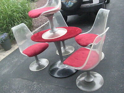 Mid-Century ChromeCraft CLEAR  Dinette Set w/ 5 Chairs as found for Restoration