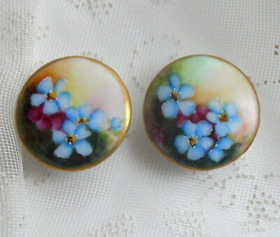 2Pc Antique Victorian Hand-Painted Porcelain Forget-me-not CUFF BUTTONS