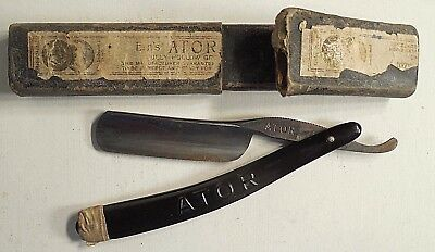 Vintage Straight Razor With Box Ern's Ator Made Germany Nr