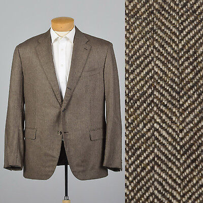 XL 46L 1990s Mens Brown Cashmere Jacket VTG Double Vent Wide Lapel Flap Pocket