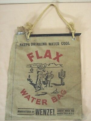 1950 era~WENZEL~FLAX WATER BAG ADVERTISING~DRINKING or AUTO RADIATOR EMERGENCY~