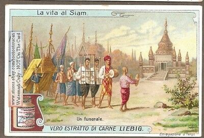 Siam - Thailand Buddhist Funeral Procession Religion c1910 Trade Ad Card