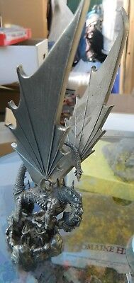 """1995 Rawcliffe pewter dragon Attacking Knight 8"""" Tall RF 3009 Must See"""