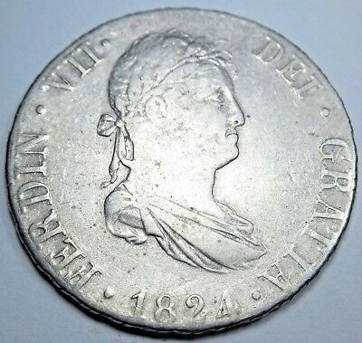 1824 AJ Spanish Spain Silver 2 Reales Piece of 8 Real Old Colonial Two Bits Coin