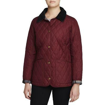 Barbour Womens Montrose Red Fall Jacket Warm Quilted Coat Outerwear 8 BHFO 0652
