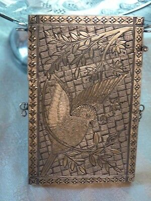 Victorian Chatelaine Sterling Silver Calling Card Holder Lovely Bird Decoration