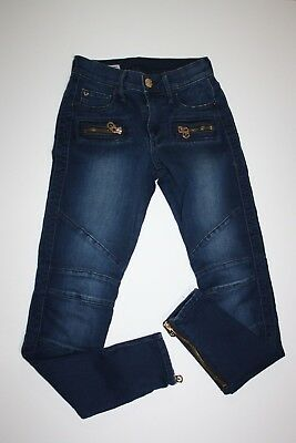 True Religion Halle Mid Rise Super Skinny Jeans Zippers Blue Wash Womens Size 24