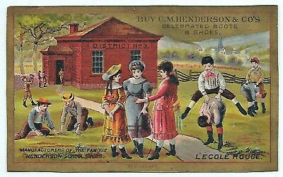 """Active children at recess """"Little Red School House"""" Shoes Victorian Trade-Card C"""