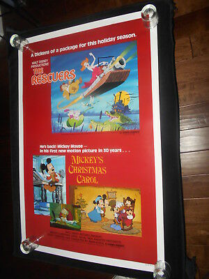 Mickey's Christmas Carol The Rescuers  Disney  R83 Rolled One Sheet Poster