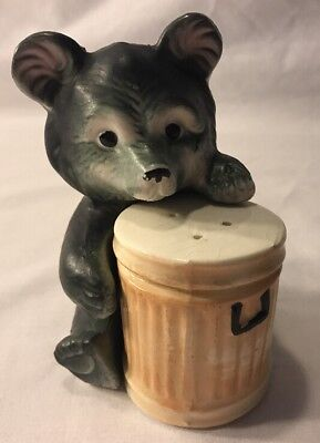 Vtg 1960's Black Bear Garbage Can Hugger Salt And Pepper Shakers Japan Excellent