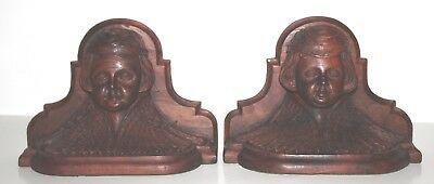 Antique Vintage Hand Carved Wood Cherub Book Ends