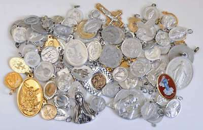 Huge LOT OF 100 + ANTIQUE & VINTAGE CATHOLIC ALUMINUN Medals Medal NR