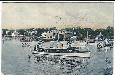Launching of a Cup Defender, Bristol, Rhode Island Vintage Postcard