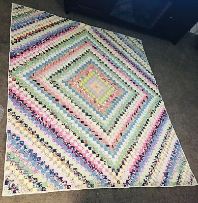 1 In. Square Vintage Postage Stamp Quilt Multi Colored 77 inches X 66 1/2 inches