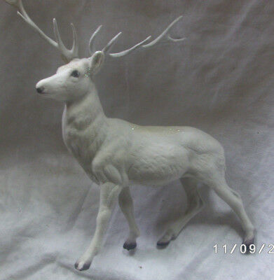 Vintage White Flocked Plastic Deer Buck Figurine Christmas