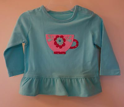 New In Bag Kelly's Kids Skye Blue Teacup Applique Top ~ Girl's Size 6M