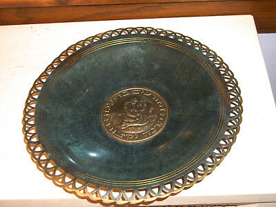 Pal Bell Israel Brass Bowl with green patina Fillegree Border Circa 1950s