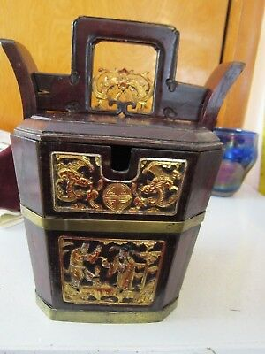 Chinese Wedding Basket Hidden Wood Lock,  w/Gold Carved Figures Brass Bands