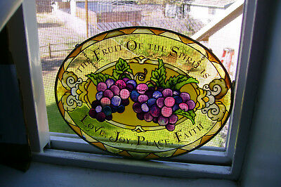 Beautiful Stained Glass Sun Catcher Bunches of Grapes Love Joy Peace Faith