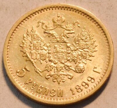 1899 R Russia Gold 5 Roubles, Higher Grade, Scarce Russian Five Rouble Coin