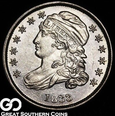 1833 Capped Bust Dime, Tough This Nice, Choice BU++ Early Silver Type, Free S/H!