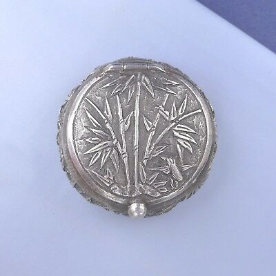 Antique Chinese Sterling Silver Box / Snuff Pill Powder Trinket Compact