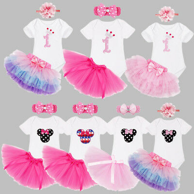 3Pcs/Set Baby Girls 1st First Birthday Party Dress Outfits Cake Smash Tutu Skirt