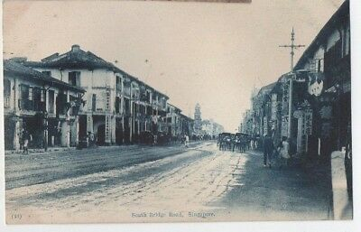 Old Postcard South Bridge Road Singapore Malaya Vintage C.1910