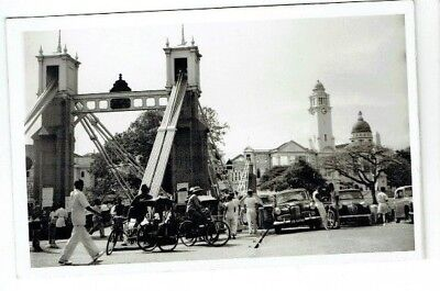 Postcard Size Photo The Old Bridge Singapore Malaya Vintage 1950S