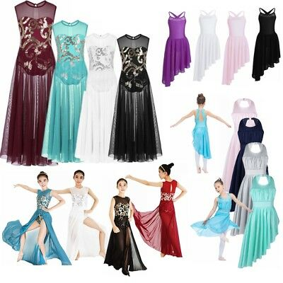 Girls Lyrical Ballet Praise Leotard Dance Dress Latin Ballroom Long Maxi Costume