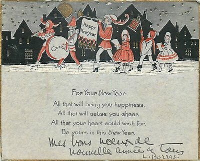 Cp Illustree Anglaise Happy New Year - Fanfare Enfants