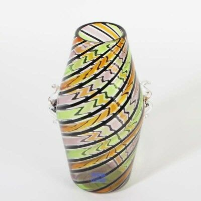 Museum Fratelli Toso Vase Murano Glas Fratelli Toso ca 1965 a canne Label Henkel